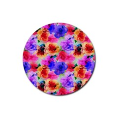 Floral Pattern Background Seamless Rubber Round Coaster (4 Pack)  by BangZart