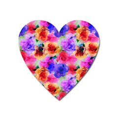 Floral Pattern Background Seamless Heart Magnet by BangZart