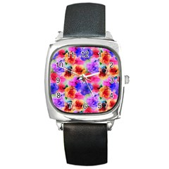 Floral Pattern Background Seamless Square Metal Watch by BangZart