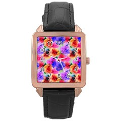 Floral Pattern Background Seamless Rose Gold Leather Watch  by BangZart