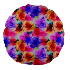 Floral Pattern Background Seamless Large 18  Premium Flano Round Cushions by BangZart