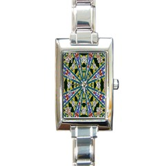 Kaleidoscope Background Rectangle Italian Charm Watch