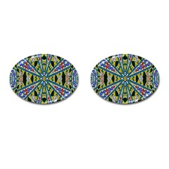 Kaleidoscope Background Cufflinks (oval) by BangZart