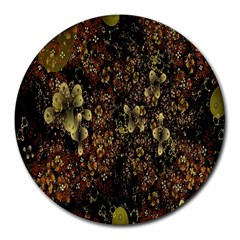 Wallpaper With Fractal Small Flowers Round Mousepads by BangZart