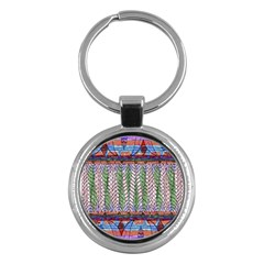 Nature Pattern Background Wallpaper Of Leaves And Flowers Abstract Style Key Chains (round)