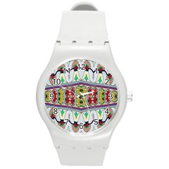 Kaleidoscope Background  Wallpaper Round Plastic Sport Watch (m) by BangZart