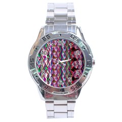 Textured Design Background Pink Wallpaper Of Textured Pattern In Pink Hues Stainless Steel Analogue Watch by BangZart