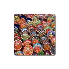 Colorful Oriental Bowls On Local Market In Turkey Square Magnet by BangZart