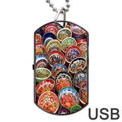 Colorful Oriental Bowls On Local Market In Turkey Dog Tag Usb Flash (two Sides) by BangZart
