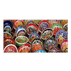 Colorful Oriental Bowls On Local Market In Turkey Satin Shawl by BangZart