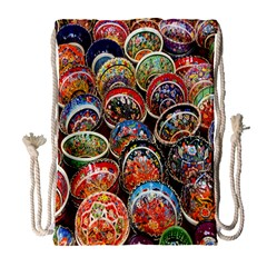 Colorful Oriental Bowls On Local Market In Turkey Drawstring Bag (large) by BangZart