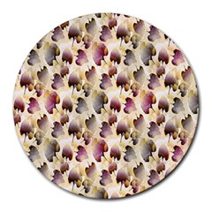 Random Leaves Pattern Background Round Mousepads by BangZart