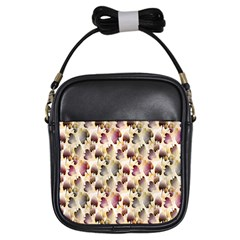 Random Leaves Pattern Background Girls Sling Bags by BangZart