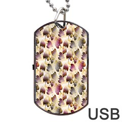 Random Leaves Pattern Background Dog Tag Usb Flash (two Sides) by BangZart