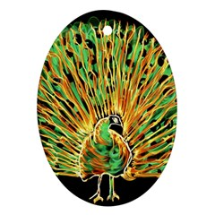 Unusual Peacock Drawn With Flame Lines Ornament (oval) by BangZart