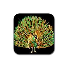 Unusual Peacock Drawn With Flame Lines Rubber Square Coaster (4 Pack)