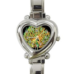 Unusual Peacock Drawn With Flame Lines Heart Italian Charm Watch by BangZart