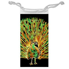 Unusual Peacock Drawn With Flame Lines Jewelry Bag