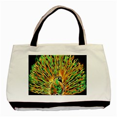 Unusual Peacock Drawn With Flame Lines Basic Tote Bag by BangZart