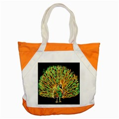 Unusual Peacock Drawn With Flame Lines Accent Tote Bag by BangZart