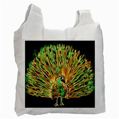 Unusual Peacock Drawn With Flame Lines Recycle Bag (two Side)  by BangZart