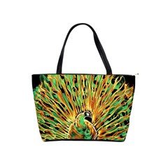 Unusual Peacock Drawn With Flame Lines Shoulder Handbags by BangZart