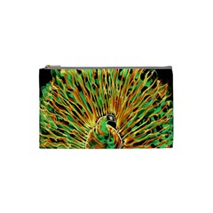 Unusual Peacock Drawn With Flame Lines Cosmetic Bag (small)
