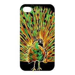 Unusual Peacock Drawn With Flame Lines Apple Iphone 4/4s Premium Hardshell Case by BangZart