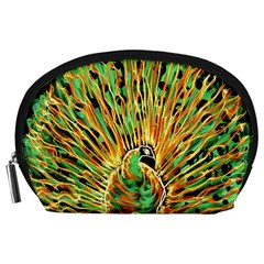 Unusual Peacock Drawn With Flame Lines Accessory Pouches (large)  by BangZart