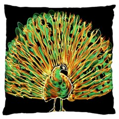 Unusual Peacock Drawn With Flame Lines Large Flano Cushion Case (two Sides) by BangZart