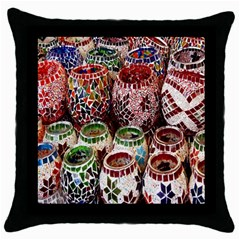 Colorful Oriental Candle Holders For Sale On Local Market Throw Pillow Case (black) by BangZart