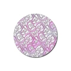 Floral Pattern Background Rubber Coaster (round)  by BangZart