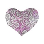 Floral Pattern Background Standard 16  Premium Heart Shape Cushions Back