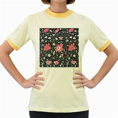 Oriental Style Floral Pattern Background Wallpaper Women s Fitted Ringer T-shirts by BangZart