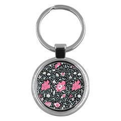 Oriental Style Floral Pattern Background Wallpaper Key Chains (round)  by BangZart