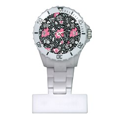 Oriental Style Floral Pattern Background Wallpaper Plastic Nurses Watch by BangZart