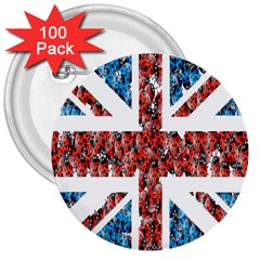 Fun And Unique Illustration Of The Uk Union Jack Flag Made Up Of Cartoon Ladybugs 3  Buttons (100 Pack)  by BangZart