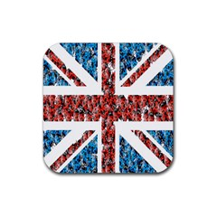 Fun And Unique Illustration Of The Uk Union Jack Flag Made Up Of Cartoon Ladybugs Rubber Coaster (square)  by BangZart