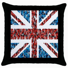 Fun And Unique Illustration Of The Uk Union Jack Flag Made Up Of Cartoon Ladybugs Throw Pillow Case (black) by BangZart