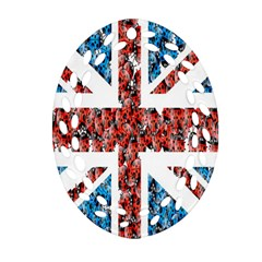Fun And Unique Illustration Of The Uk Union Jack Flag Made Up Of Cartoon Ladybugs Ornament (oval Filigree)