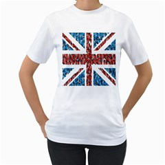 Fun And Unique Illustration Of The Uk Union Jack Flag Made Up Of Cartoon Ladybugs Women s T-shirt (white)  by BangZart