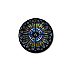 Stained Glass Rose Window In France s Strasbourg Cathedral Golf Ball Marker (4 Pack) by BangZart