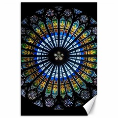 Stained Glass Rose Window In France s Strasbourg Cathedral Canvas 24  X 36  by BangZart