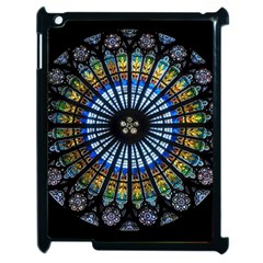 Stained Glass Rose Window In France s Strasbourg Cathedral Apple Ipad 2 Case (black) by BangZart