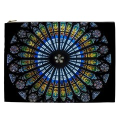 Stained Glass Rose Window In France s Strasbourg Cathedral Cosmetic Bag (xxl)  by BangZart