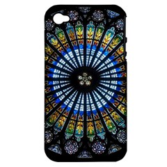 Stained Glass Rose Window In France s Strasbourg Cathedral Apple Iphone 4/4s Hardshell Case (pc+silicone) by BangZart