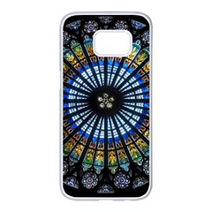 Stained Glass Rose Window In France s Strasbourg Cathedral Samsung Galaxy S7 Edge White Seamless Case
