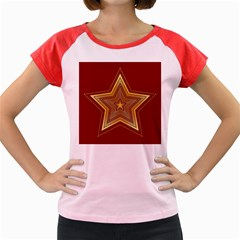 Christmas Star Seamless Pattern Women s Cap Sleeve T-shirt