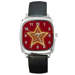 Christmas Star Seamless Pattern Square Metal Watch by BangZart