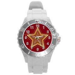 Christmas Star Seamless Pattern Round Plastic Sport Watch (l) by BangZart